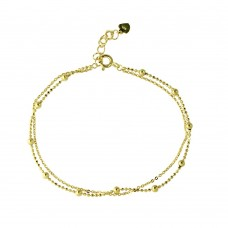 Wholesale Sterling Silver 925 Gold Plated Double Strand DC Bead Chain Bracelet - GMB00055GP