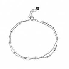 Wholesale Sterling Silver 925 Rhodium Plated Double Strand DC Bead Chain Bracelet - GMB00055RH