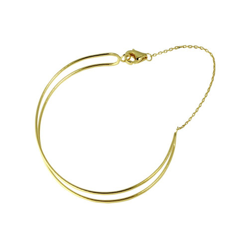 Wholesale Sterling Silver 925 Gold Plated Open Wire Cuff Bracelet with Chain - GMB00056GP