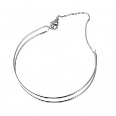 Wholesale Sterling Silver 925 Rhodium Plated Open Open Wire Cuff Bracelet with Chain - GMB00056RH