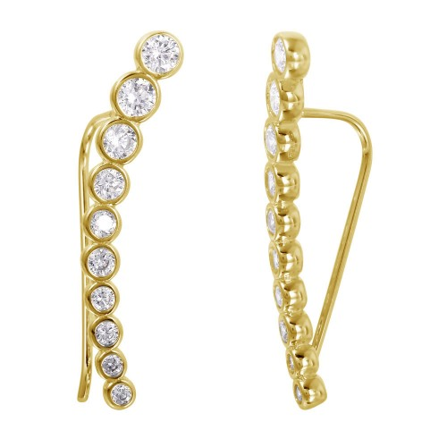 Wholesale Sterling Silver 925 Gold Plated CZ Drop Earrings - GME00008GP