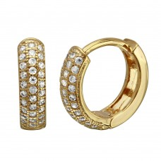 Wholesale Sterling Silver 925 Gold Plated CZ Huggie Earrings - GME00027GP
