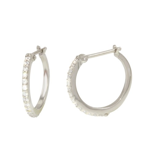 Wholesale Sterling Silver 925 Rhodium Mini Hoop Earrings with CZ - GME00028