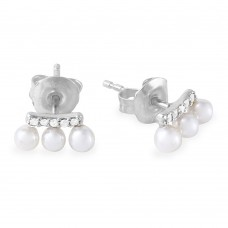 Wholesale Sterling Silver 925 Rhodium Plated Trio Fresh Water Pearl with CZ Earring - GME00036RH