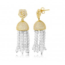 Wholesale Sterling Silver 925 Gold Plated Flower with Hanging CZ Dome and Synthetic Pearl Strands Earrings - GME00043GP