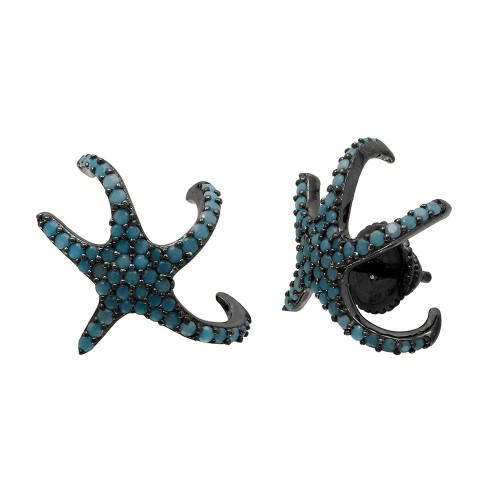 Wholesale Sterling Silver 925 Black Rhodium Plated Hugging CZ Starfish With Turquoise Stones Earrings - GME00045BLK-T