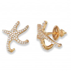 Wholesale Sterling Silver 925 Rose Gold Plated Hugging CZ Starfish Earrings - GME00045RGP