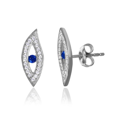 Wholesale Sterling Silver 925 Rhodium Plated Evil Eye CZ Earring with Blue Center Stone - GME00049-SAPP
