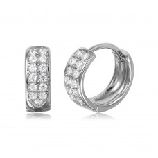 Wholesale Sterling Silver 925 Rhodium Plated CZ Huggie Earrings - GME00051