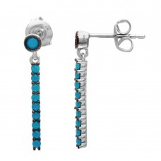 Wholesale Sterling Silver 925 Rhodium Plated Hanging Turquoise Line Earring with Blue Enamel - GME00053BLK-T