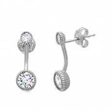 Wholesale Sterling Silver 925 Rhodium Plated Double CZ Drop Earrings - GME00054RH