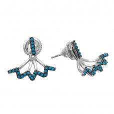 Wholesale Sterling Silver 925 Rhodium Plated Turquoise Bar Earrings With Hanging Zigzag Backing - GME00055BLK-T
