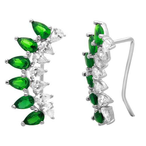 Wholesale Sterling Silver 925 Rhodium Plated Pear Shape Clear and CZ Green Climbing Earrings - GME00059-GREEN