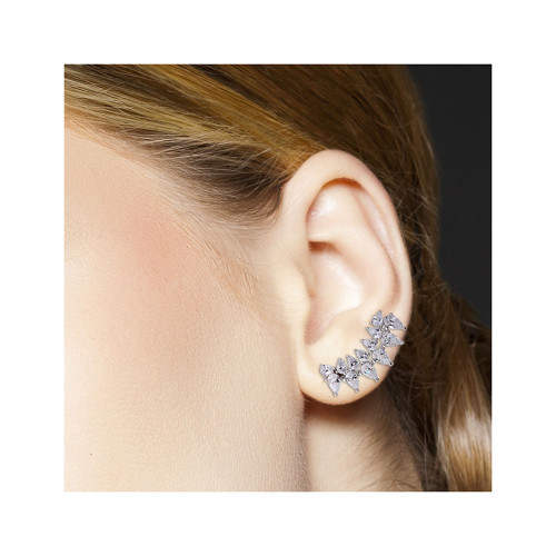 Wholesale Sterling Silver 925 Rhodium Plated Pear Shape Black CZ Climbing Earrings - GME00059-BLACK