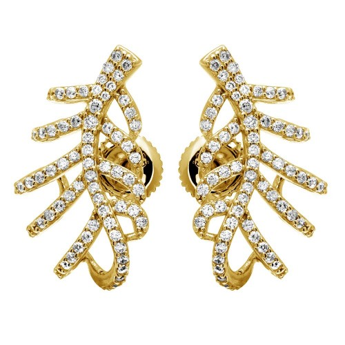 Wholesale Sterling Silver 925 Gold Plated Leaf Hugging CZ Earrings - GME00060GP