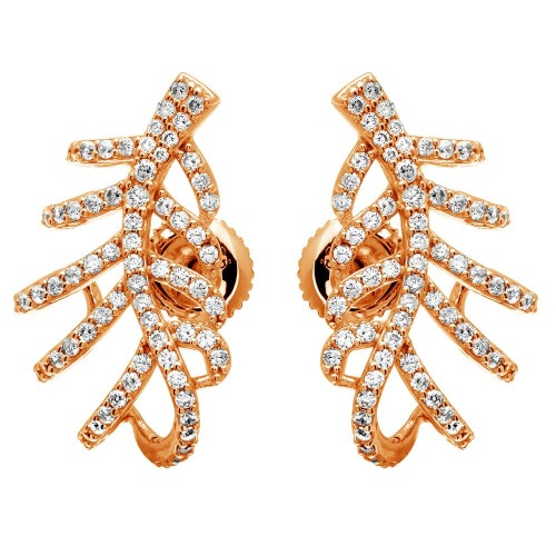 Wholesale Sterling Silver 925 Rose Gold Plated Leaf Hugging CZ Earrings - GME00060RGP