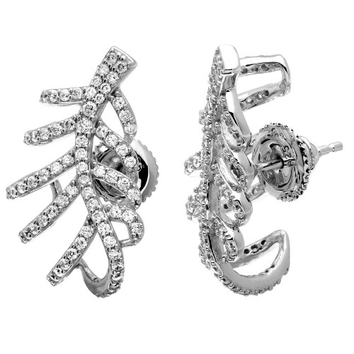 Wholesale Sterling Silver 925 Rhodium Plated Leaf Hugging CZ Earrings - GME00060