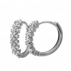 Wholesale Sterling Silver 925 Rhodium Plated CZ Hoop Earrings - GME00062