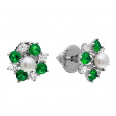 Wholesale Sterling Silver 925 Rhodium Plated Green CZ Flower Earrings with Center Fresh Water Pearl - GME00065-MAY