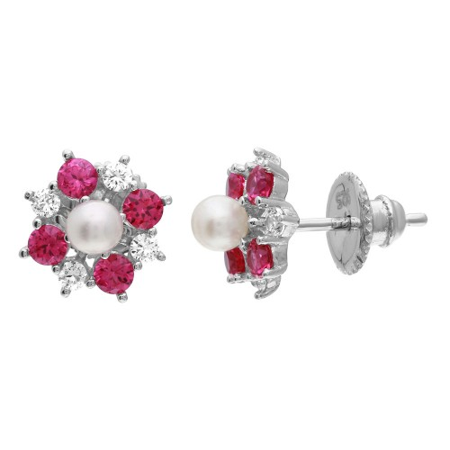 Wholesale Sterling Silver 925 Rhodium Plated Red CZ Flower Earrings with Center Fresh Water Pearl - GME00065RED