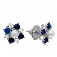 Wholesale Sterling Silver 925 Rhodium Plated Blue CZ Flower Earrings with Center Fresh Water Pearl - GME00065-SAPP