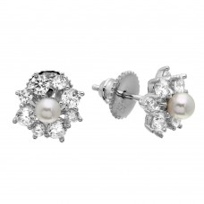 Wholesale Sterling Silver 925 Rhodium Plated Clear CZ Flower Earrings with Center Fresh Water Pearl - GME00065RH-WHITE