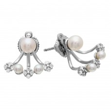 Wholesale Sterling Silver 925 Rhodium Plated Fresh Water Pearl and CZ Hanging Earring - GME00066