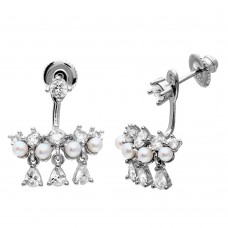 Wholesale Sterling Silver 925 Rhodium Plated Chandelier CZ and Fresh Water Pearl Earrings - GME00068RH