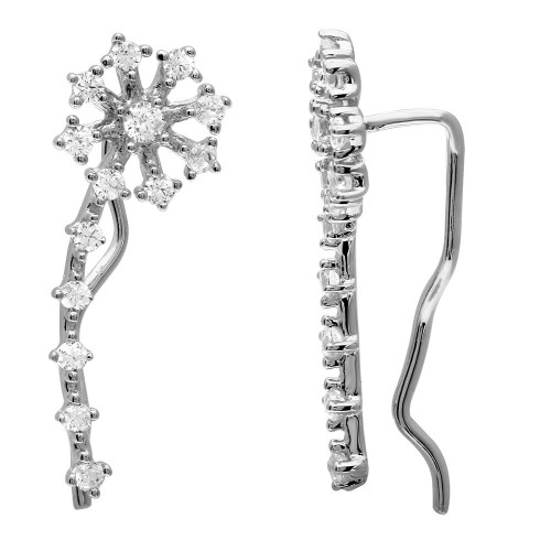 Wholesale Sterling Silver 925 Rhodium Plated CZ Flower Climbing Earrings - GME00069RH