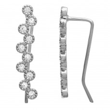 Wholesale Sterling Silver 925 Rhodium Plated CZ Bubble Climbing Earrings - GME00072RH
