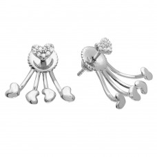 Sterling Silver Rhodium Plated CZ Heart Earrings With Hanging Heart Backing - GME00073RH