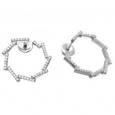 Wholesale Sterling Silver 925 Rhodium Plated Open Circle CZ Bar Earrings - GME00074RH