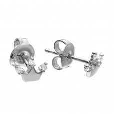 Wholesale Sterling Silver 925 Rhodium Plated Crown CZ Stud Earrings - GME00075RH