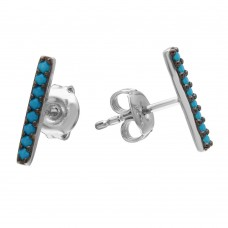 Wholesale Sterling Silver 925 Black Rhodium Plated Bar Earrings with Synthetic Turquoise Stones - GME00076BLK-T