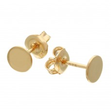 Wholesale Sterling Silver 925 Gold Plated Disc Stud Earrings - GME00077GP