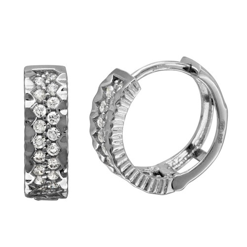 Wholesale Sterling Silver 925 Rhodium Plated 2 Row CZ Bordered Huggie Earrings - GME00084