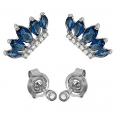 Wholesale Sterling Silver 925 Rhodium Plated 2 CZ Studs and 2 Blue Crown Earrings - GME00085RH