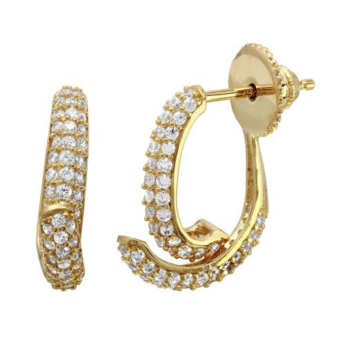 Wholesale Sterling Silver 925 Gold Plated Front and Back Semi CZ Hoop Earrings - GME00086GP