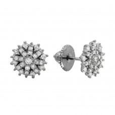 Wholesale Sterling Silver 925 Rhodium Plated CZ Encrusted Snow Flakes Stud Earrings - GME00087