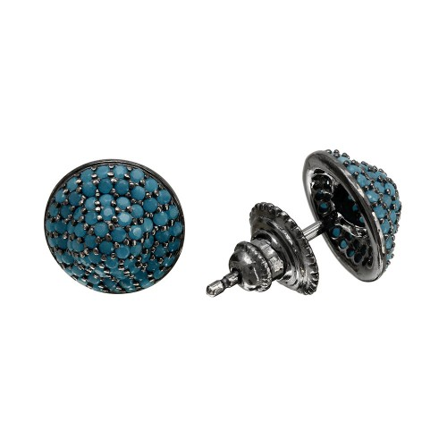Wholesale Sterling Silver 925 Black Rhodium Dome Turquoise CZ Stud Earrings - GME00088BLK