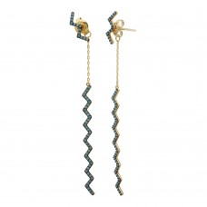 Wholesale Sterling Silver 925 Gold Plated Zig Zag Drop Earrings with Turquoise Stones - GME00091GP