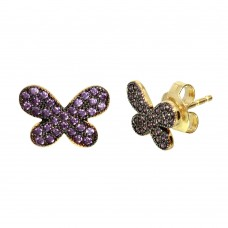 Wholesale Sterling Silver 925 Gold Plated Butterfly Studs Earrings with Purple CZ Stones - GME00097GB