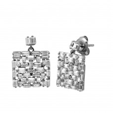 Wholesale Sterling Silver 925 Rhodium Plated Square Multi Baguette CZ Dangling Earrings - GME00099
