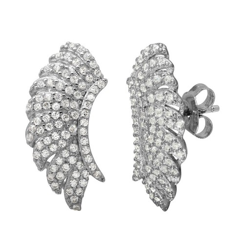 Wholesale Sterling Silver 925 Rhodium Plated Angel Wings Climbing Earrings - GME00100
