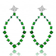 Wholesale Sterling Silver 925 Rhodium Plated Dangling Teardrop Earrings with CZ - GME00102RH-GREEN