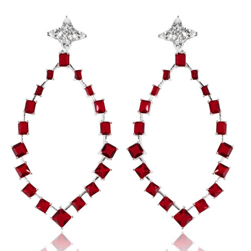 Wholesale Sterling Silver 925 Rhodium Plated Dangling Teardrop Earrings with CZ - GME00102RH-RED