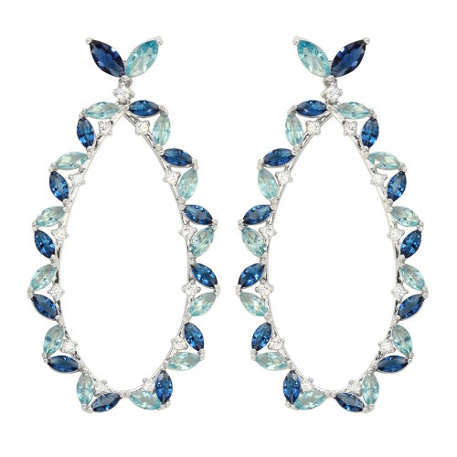 Wholesale Sterling Silver 925 Rhodium Plated Blue CZ Hanging Oval Earrings - GME00103RH-BLU