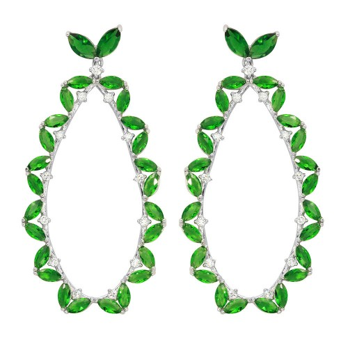 Wholesale Sterling Silver 925 Rhodium Plated Green CZ Hanging Oval Earrings - GME00103RH-GREEN