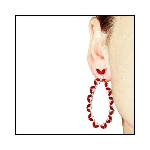 Wholesale Sterling Silver 925 Rhodium Plated Red CZ Hanging Oval Earrings - GME00103-RED
