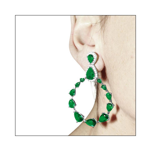 Wholesale Sterling Silver 925 Rhodium Plated Green and Clear Teardrop with Open Hanging Graduated CZ Earrings - GME00104-GREEN